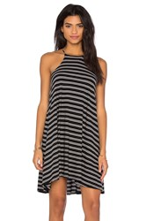 Bobi Double Stripe Jersey Tank Mini Dress Black And White