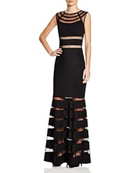 Js Collections Beaded Mesh Panel Gown Black