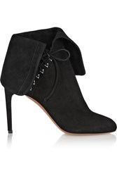 Alaia Fold Over Suede Ankle Boots Black