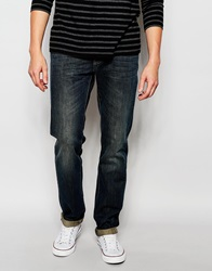 United Colors Of Benetton Dark Wash Distressed Jeans In Regular Fit Darkblue901