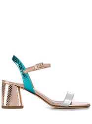 Gianna Meliani Snake Print Effect Sandals Gold