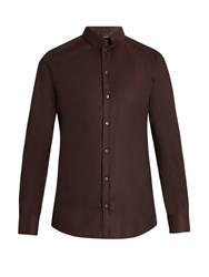 Dolce And Gabbana Gold Fit Diamond Jacquard Single Cuff Shirt Burgundy