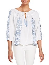 Kas Shayne Cotton Peasant Blouse Blue
