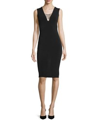 Alice Olivia Asha Lace Front Sheath Dress Black