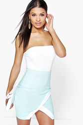 Boohoo Asymetric Mini Skirt Mint
