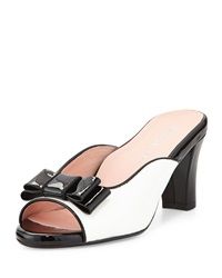 Fico Peep Toe Bow Mule White Black Taryn Rose