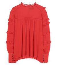 Isabel Marant Qimper Ruffled Stretch Silk Blouse Red