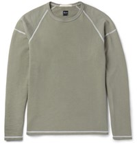 Albam Loopback Cotton Jersey Sweatshirt Gray Green