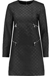 Marc By Marc Jacobs Zip Embellished Faille Mini Dress Charcoal