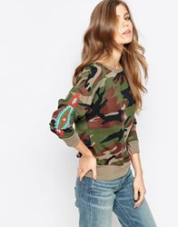 Denim And Supply Ralph Lauren Denim And Supply By Ralph Lauren Embroidered Sleeve Camo Sweatshirt Sabrage Multi