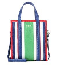 Balenciaga Bazar Shopper Xs Striped Leather Shopping Bag Multicoloured