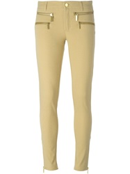 Michael Michael Kors Zip Detail Skinny Trousers Nude And Neutrals