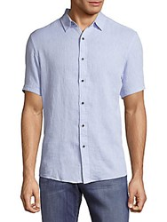 Report Collection Textured Casual Button Front Shirt Blue