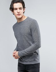 Brave Soul Mens Crew Neck Knitted Jumper With Sausage Roll Neck Grey