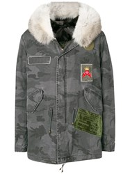 Mr And Mrs Italy Fur Trimmed Short Parka Grey