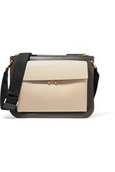 Marni Pocket Bandoleer Leather Shoulder Bag Black