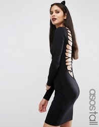 Asos Tall Halloween Skeleton Cut Out Back Mini Dress Black