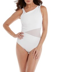 Miraclesuit Azura Mesh High Neck One Piece Swimsuit White