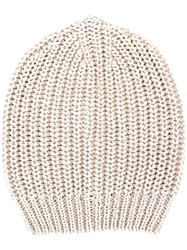 Rick Owens Ribbed Beanie Men Cotton One Size Nude Neutrals