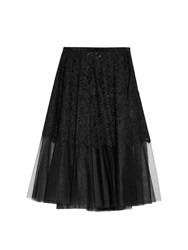 No.21 Lace And Tulle Midi Skirt