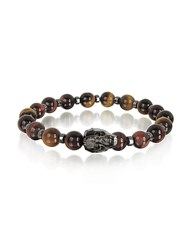 Blackbourne Brown Tigers Eye Small Stone Men's Bracelet W Gunmetal Swarovski Crystal Skull