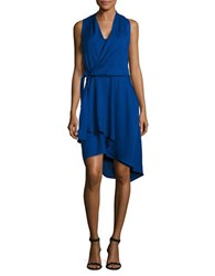 Mika And Gali Solid Faux Wrap Dress Sapphire Blue