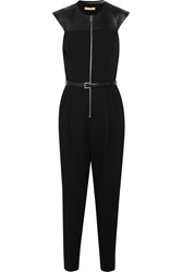 Michael Kors Leather Paneled Stretch Wool Crepe Jumpsuit