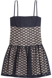 Red Valentino Redvalentino Embroidered Tulle And Taffeta Mini Dress Black