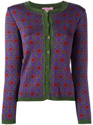 D'enia Patterned Buttoned Cardigan Pink Purple