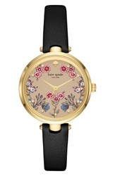 Kate Spade New York Holland Floral Leather Strap Watch 34Mm Black Gold