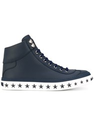 Jimmy Choo 'Argyile' High Top Sneakers Men Calf Leather Leather Rubber 44 Blue