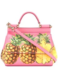 Dolce And Gabbana Pineapple Print Satchel Pink Purple