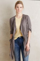 Anthropologie Draped Morgan Trench Grey