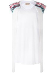 Laneus Beaded Fringed T Shirt White