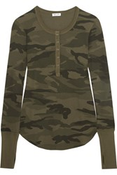 Splendid Camouflage Print Stretch Supima Cotton And Modal Blend Top Army Green