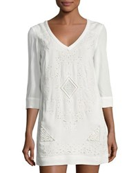French Connection Camber Sands Embroidered Dress White