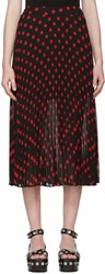 Mcq By Alexander Mcqueen Black And Red Polka Dot Skirt