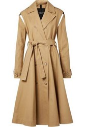 Calvin Klein 205W39nyc Woman Double Breasted Flared Cotton Twill Trench Coat Sand