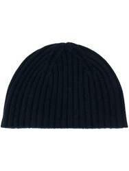 Pringle Of Scotland Ribbed Cashmere Beanie Hat Blue