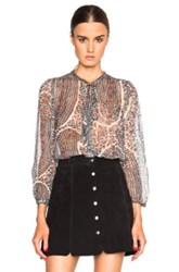 Etoile Isabel Marant Isabel Marant Etoile Siandra Printed Chiffon Blouse In Green Floral Abstract