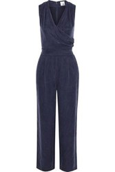 Iris And Ink Aurora Wrap Effect Washed Twill Jumpsuit Navy