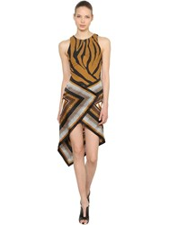 Roberto Cavalli Animalier Twill And Satin Scarf Dress White Camel