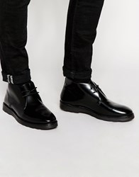 Asos Chukka Boots In Black Leather With Wedge Sole