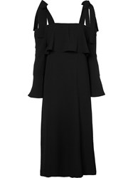 Ganni Strap Gathered Dress Women Cotton 36 Black