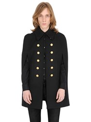 Saint Laurent Double Breast Wool Felt Military Cape
