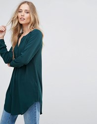 Only Nova Long Tunic Shirt Scarab Green
