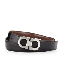 Salvatore Ferragamo Double Gancini Reversible Calfskin Belt Black Brown