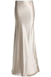 Amanda Wakeley Open Knit Trimmed Fluted Silk Satin Maxi Skirt Neutral