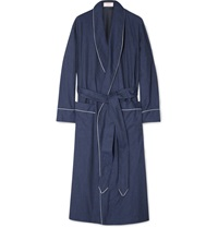 Emma Willis Herringbone Brushed Cotton Robe Blue