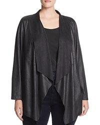 Bagatelle Plus Draped Faux Leather Jacket Black